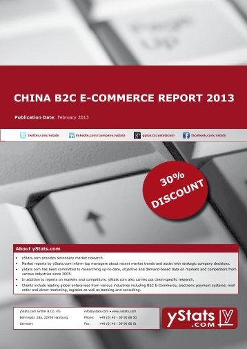 Samples China B2C E-Commerce Report 2013 - yStats.com