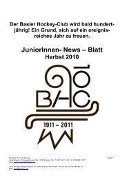 Junioren-News Herbst 10 HP - Basler HC
