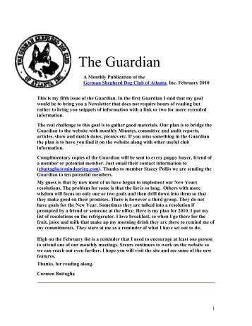 The Guardian - German Shepherd Dog Club of Atlanta