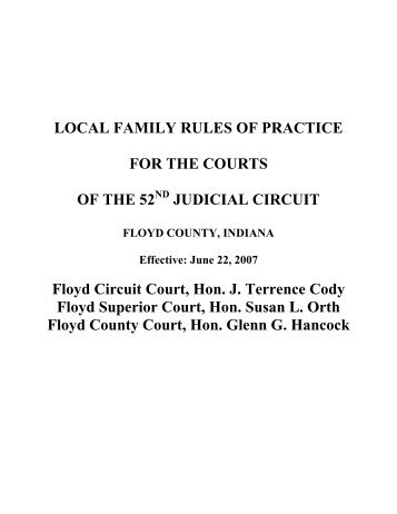 Local Family Rules - Floyd County Indiana - State of Indiana