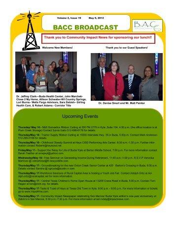 BACC BROADCAST - Buda Area Chamber of Commerce