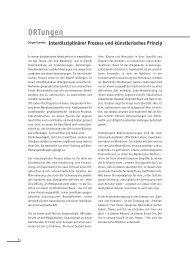 ORTungen Interdisziplinärer Prozess und künstlerisches Prinzip