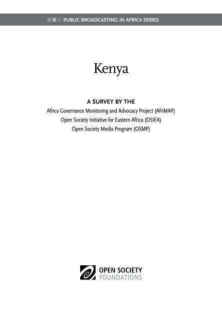 Public Broadcasting In Africa Series Kenya Afrimap