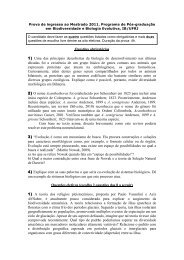 Prova de Biodiversidade e Biologia Evolutiva 2011/1 - Instituto de ...
