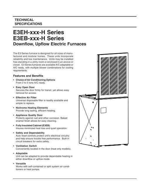 E3EH-xxx-H Series E3EB-xxx-H Series Downflow, Upflow Electric