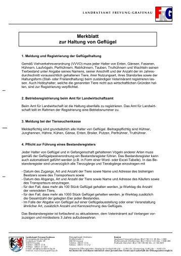 Merkblatt zur Haltung von Geflügel - Landkreis Freyung-Grafenau
