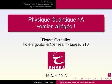 Physique Quantique 1A version allégée ! - ENSEA