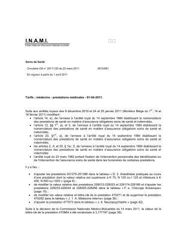 Tarifs des Médecins - A partir du 01/04/2011 - Inami