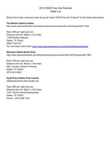 2010 ISAS Fine Arts Festival Hotel List - St. Mark's School of Texas