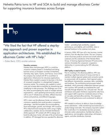 Helvetia Patria eBusiness Success Story (FSI) - didier beck weblog