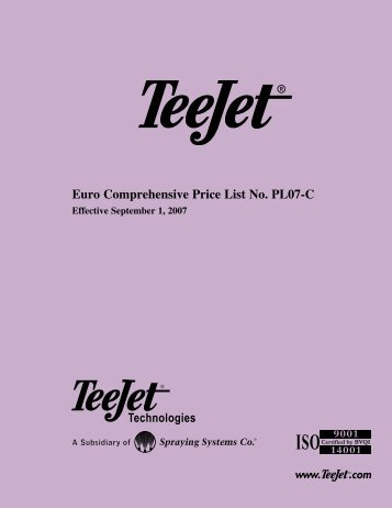 Euro Comprehensive Price List No. PL07-C - TeeJet