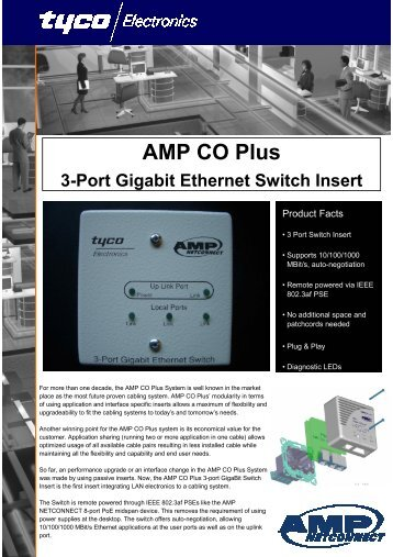 AMP CO Plus 3-Port Gigabit Ethernet Switch Insert