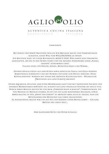 Liebe Gäste Mit Ihnen und Ihren Freunden wollen wir ... - aglio & olio