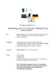 Einladung zum IX. Tubertini- Mondial Cup - Fishing Tackle Max