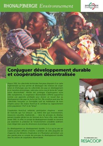 Conjuguer développement durable et coopération ... - Resacoop