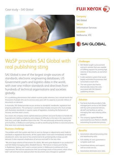 WaSP provides SAI Global with real publishing sting - Fuji Xerox