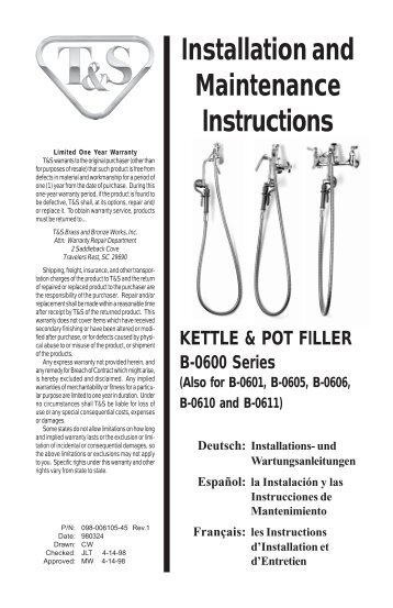 Installation and Maintenance Instructions - Fresh Water Systems