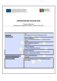 SPRAWOZDANIE ROCZNE 2009 - Polen 2007-2013