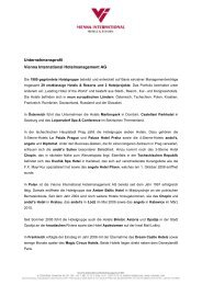 Unternehmensprofil Vienna International Hotelmanagement AG
