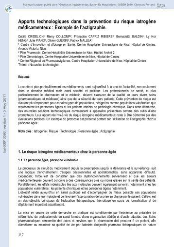 Apports technologiques dans la prévention du risque iatrogène ...