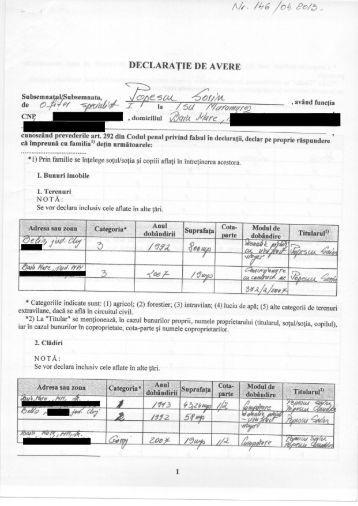 Declaraţie de avere – Ofiţer specialist I, Mr. POPESCU SORIN