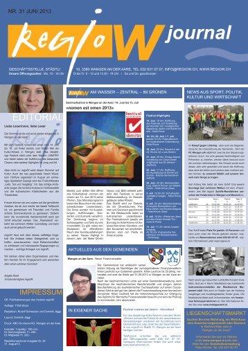 aktuelle Ausgabe regio w Journal Nr. 31 / Juni 2013