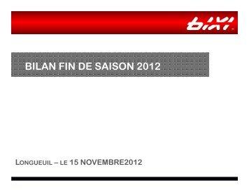 BILAN FIN DE SAISON 2012