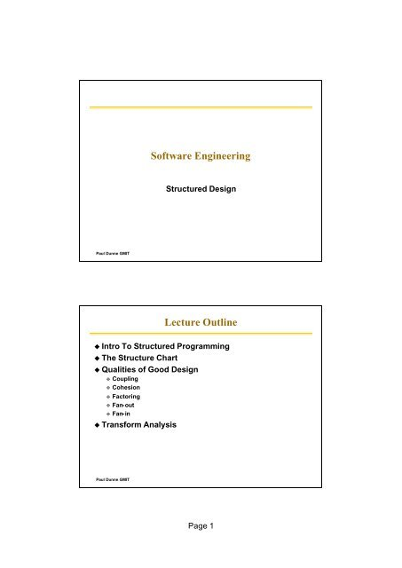 Software Engineering Lecture Outline Gmitweb