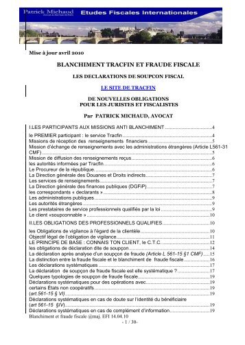 BLANCHIMENT TRACFIN et fraude fiscale - le cercle du barreau