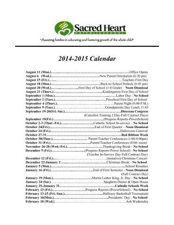 to see our Yearly Activities Calendar - Sacred Heart Catholic School