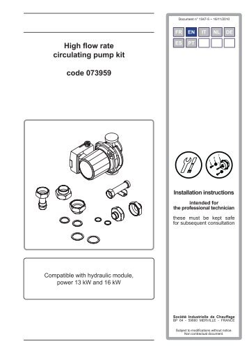 High flow rate circulating pump kit code 073959 - Atlantic-comfort.com