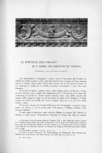 LE PORTELLE DELL'ORGANO DI S. MARIA DEI ... - Bollettino d'Arte