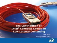 The Contribution of Intel® Connects Cables To Low Latency ...