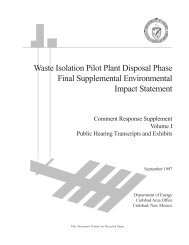 Supplement - Waste Isolation Pilot Plant