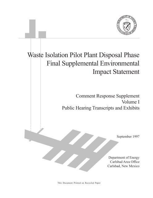 Supplement - Waste Isolation Pilot Plant
