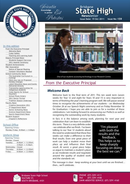 Newsletters Issue Brisbane State High School Education