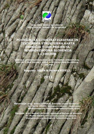 površinska litostratigrafska in tektonska strukturna karta območja t ...