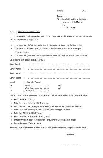 Yth. Kepala Dinas Komunikasi dan Informatika Kota Malang. di