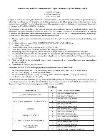 Tezpur University Mba Admission 2017
