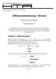 Differenzialrechnung - Diverse - stuber.info