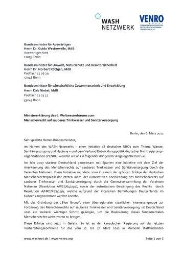 www.washnet.de   www.venro.org Seite 1 von 3 Bundesminister für ...