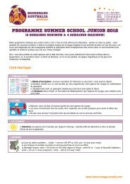 programme summer school junior 2012 - Boomerang Australia