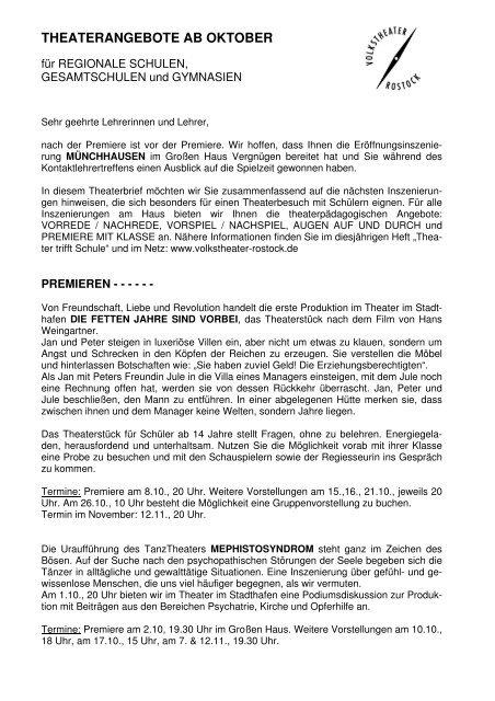 Lehrerbrief_Angebote ab Oktober 2010 - Volkstheater Rostock