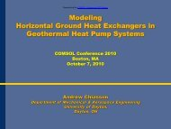 Geothermal Heat Pump Presentation - COMSOL.com