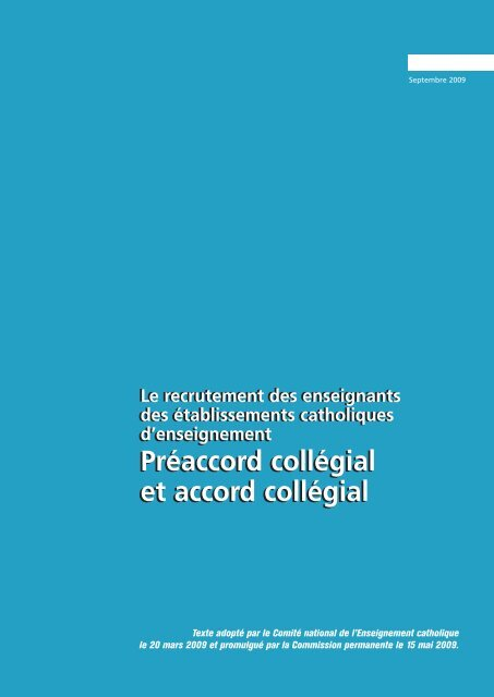 Préaccord collégial et accord collégial - ECA - Enseignement ...