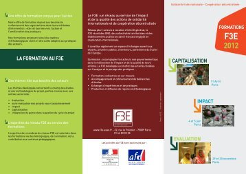 Plaquette des formations du F3E 2012