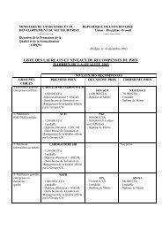 Listes des lauréats et niveaux de récompenses du prix ... - Abidjan.net