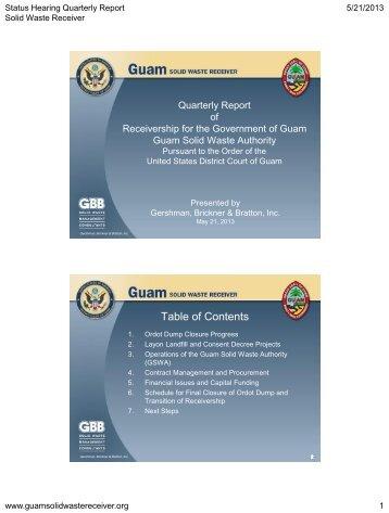1. ordot dump closure progress - Guam Solid Waste Receivership