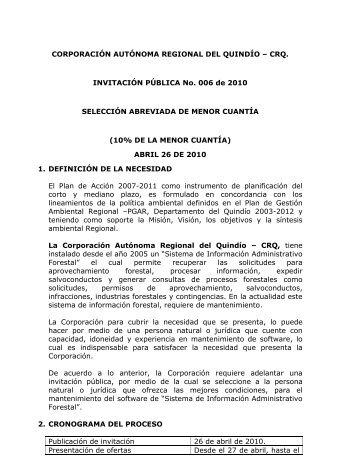 INVITACION PUBLICA No. 006 DE 2010 - ESPECIFICACIONES - SIAF