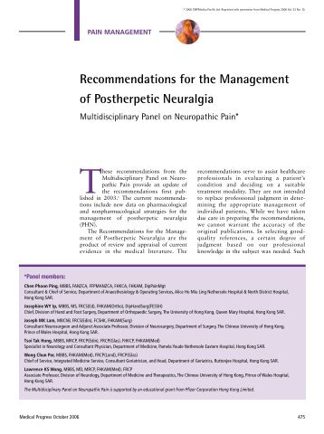 Recommendations For The Management Of Postherpetic Neuralgia